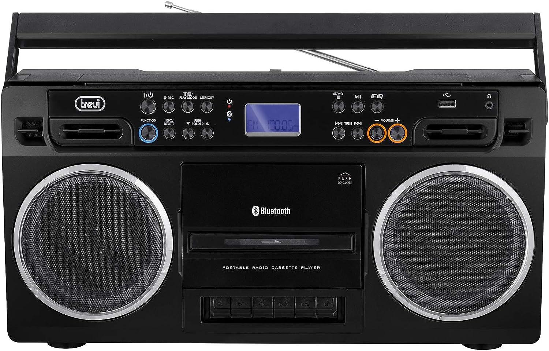 Trevi RR 504 BT - Radio grabadora estéreo Bluetooth, USB, función Encoding y Autostop, Color Negro
