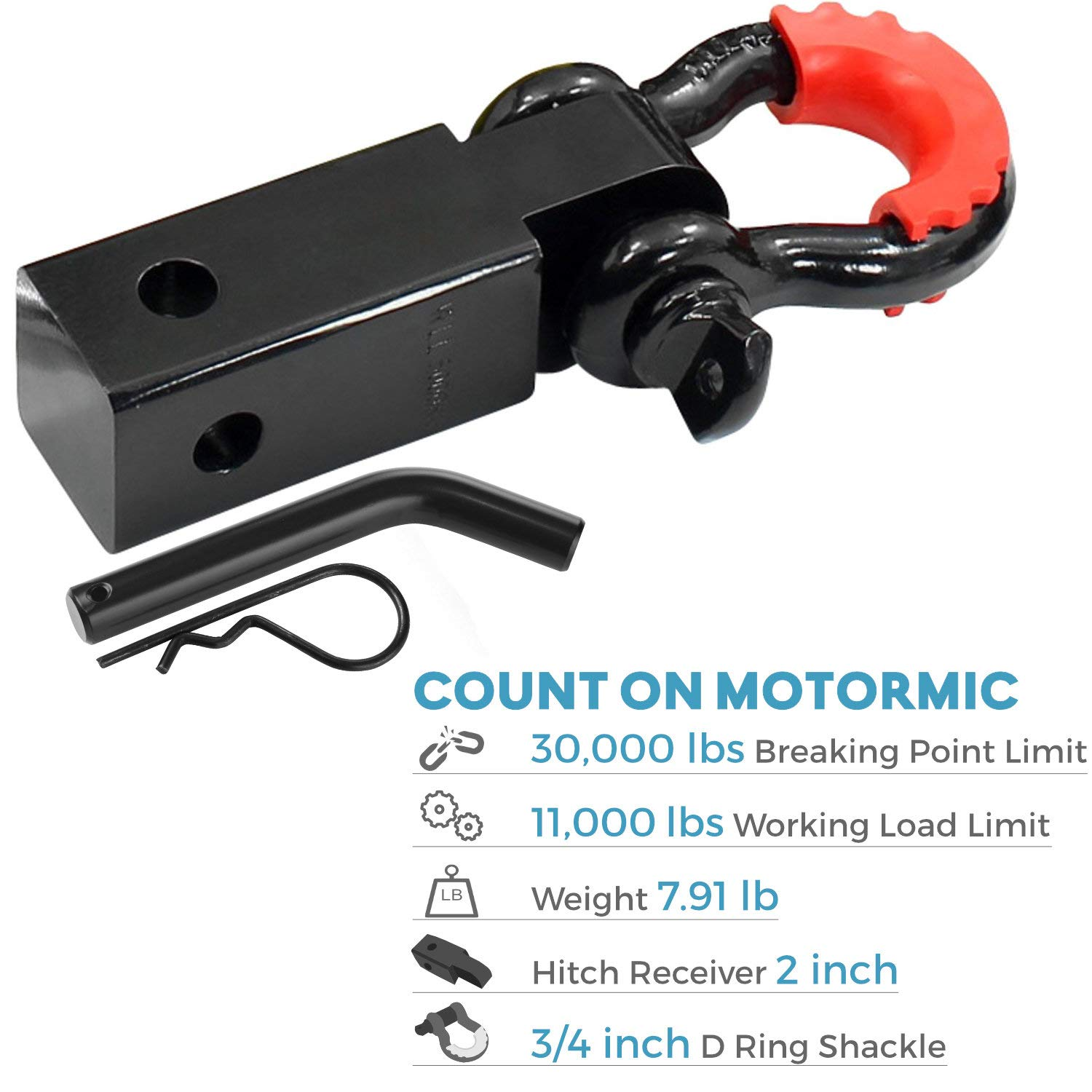 """Heavy Duty Off Road Recovery Black D Ring with 4 washers motormic Shackle Hitch Receiver 2/"""" 5//8 Trailer Lock Pin and 3//4 D Shackle 35,000 lbs Max Capacity Red Isolator for Jeep Towing"""