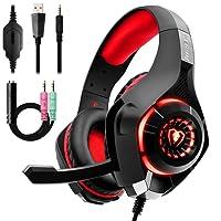 Auriculares Gaming Premium Stereo con Microfono para PS4 PC Xbox one, Cascos Gaming con Bass Surround Cancelacion ruido,Diadema Acolchada y Ajustable,Microfono Unidireccional, (Tiene un adaptador) …