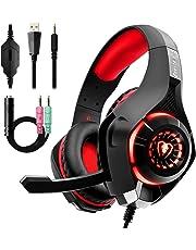 Auriculares Gaming Premium Stereo con Microfono para PS4 PC Xbox One, Cascos Gaming con Bass Surround Cancelacion ruido, Diadema Acolchada y Ajustable, Microfono Unidireccional (Tiene un adaptador)