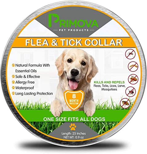 Primova-Flea-and-Tick-Collar-for-Dogs---Enhanced-with-Natural-Essential-Oils---8-Months-Protection