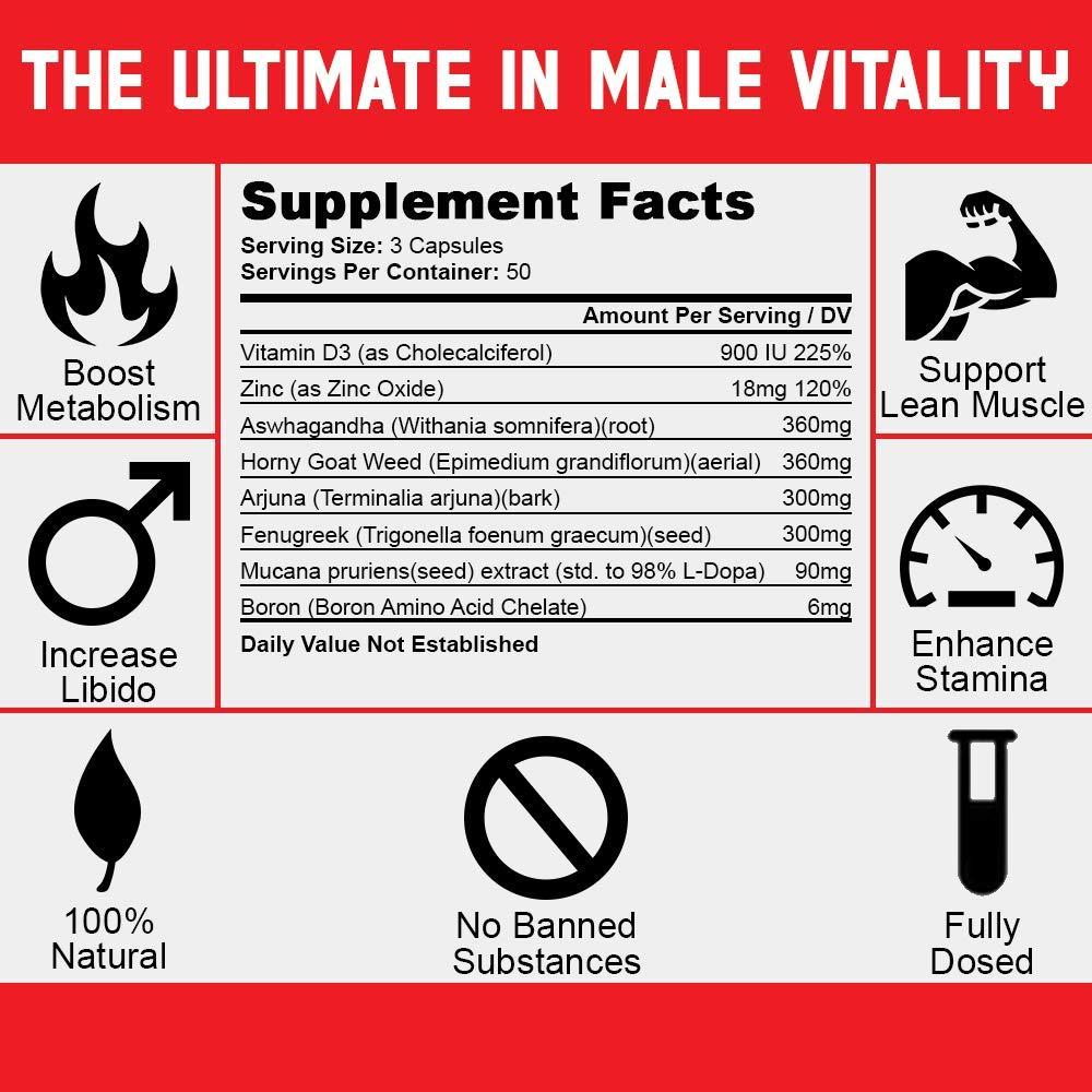 Testosterone Booster for Men Muscle Growth - Best Test Booster with Estrogen Blocker - Includes Horny Goat Weed & Fenugreek to Last Longer & Harder - Build Muscle - Burn Fat - Enhance Libido