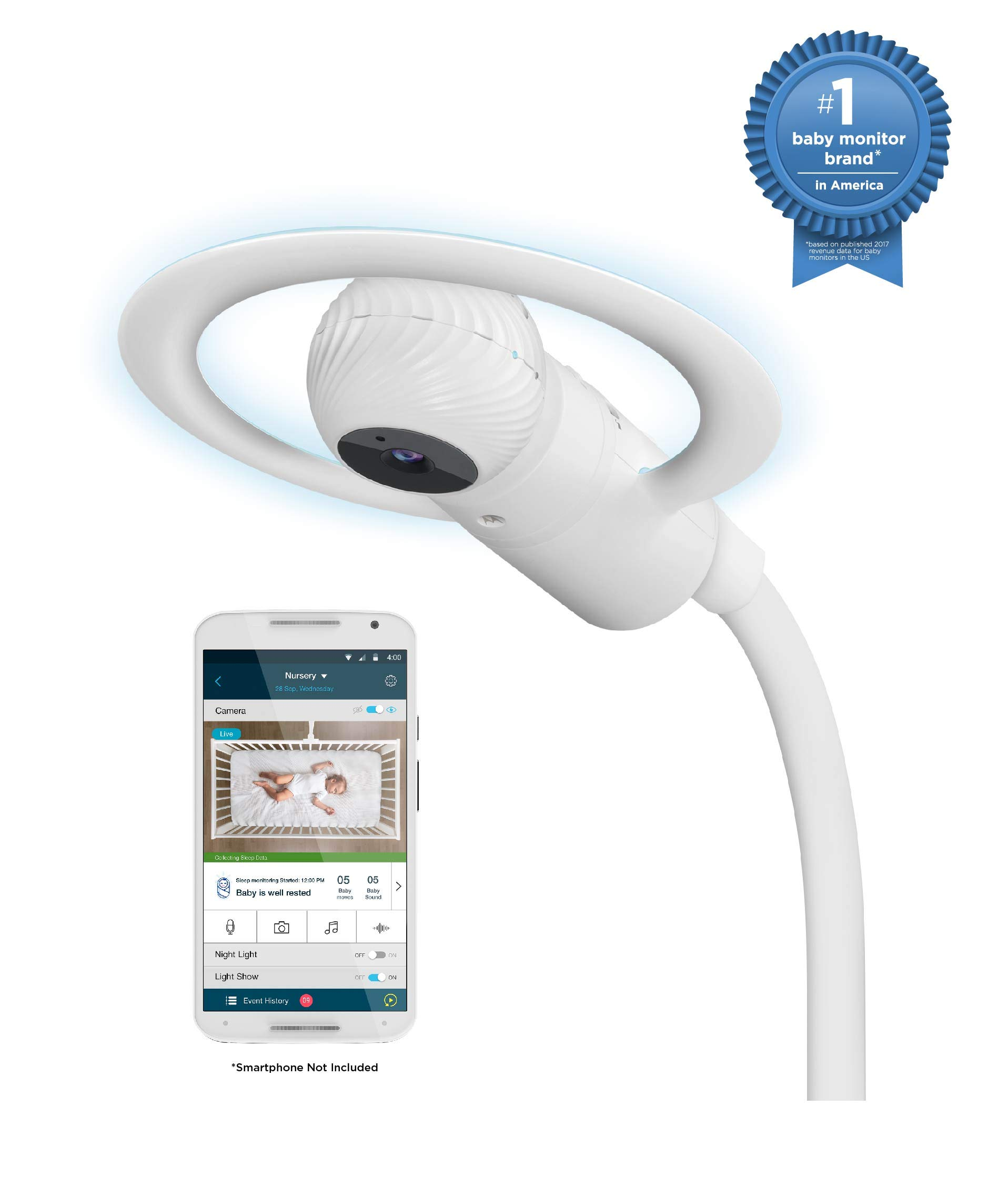Motorola Halo Over-The-Crib Baby Monitor & Soother with HD Wi-Fi Camera
