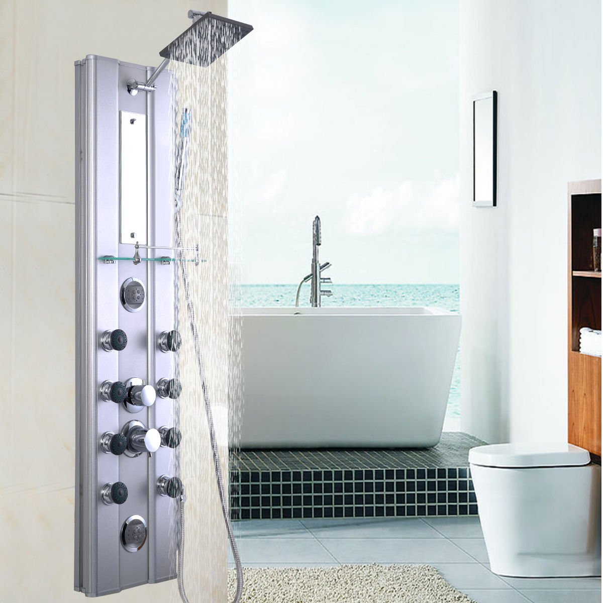 Giantex Shower Panel Rainfall Waterfall Shower Head Massage System ...