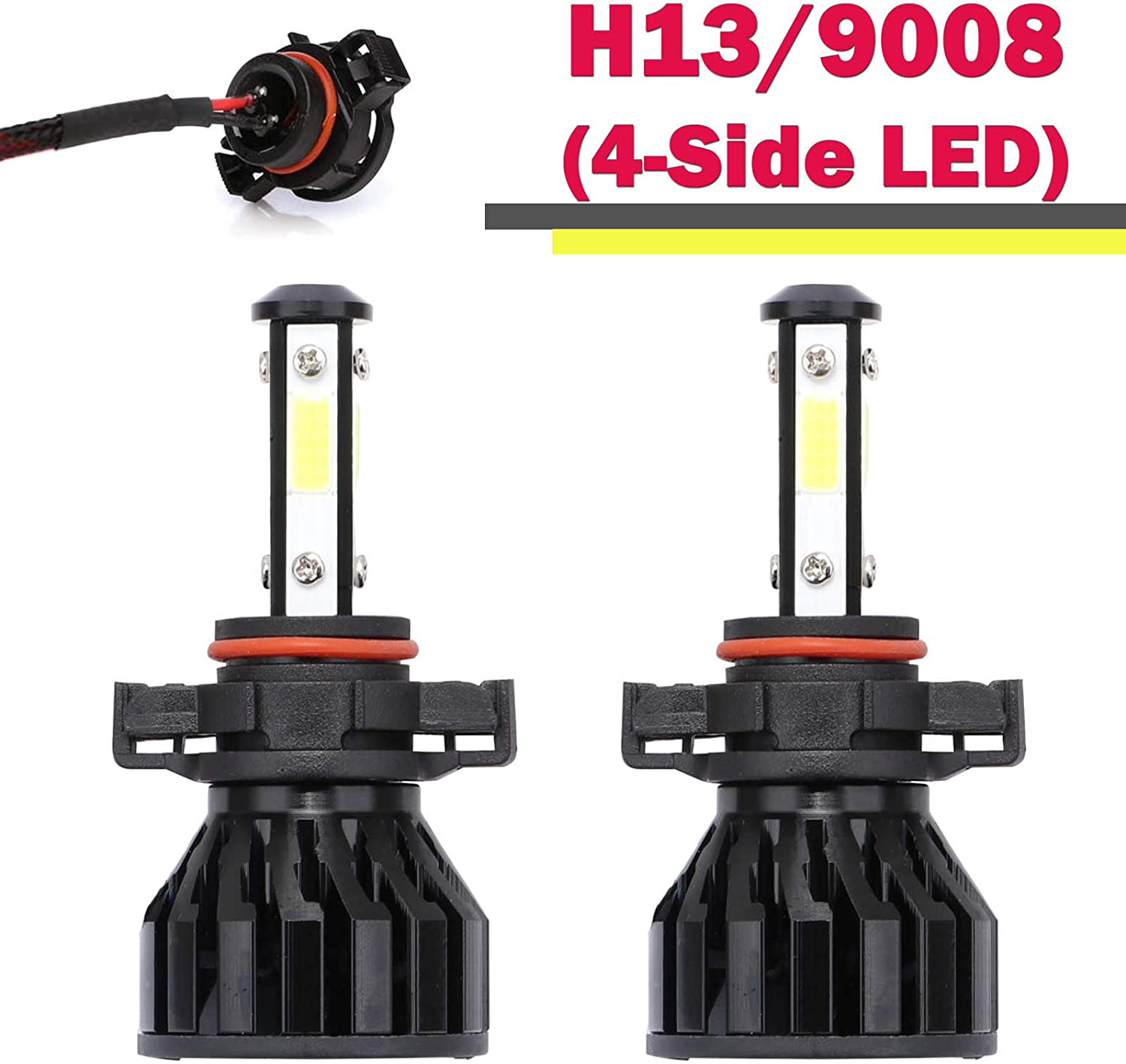H4 LED Headlight Bulbs 4-Side Chips Hi//Low Conversion Kit 6000K Cool White 360 Degree Adjustable Beam 12000LM Super Bright 5yr Warranty