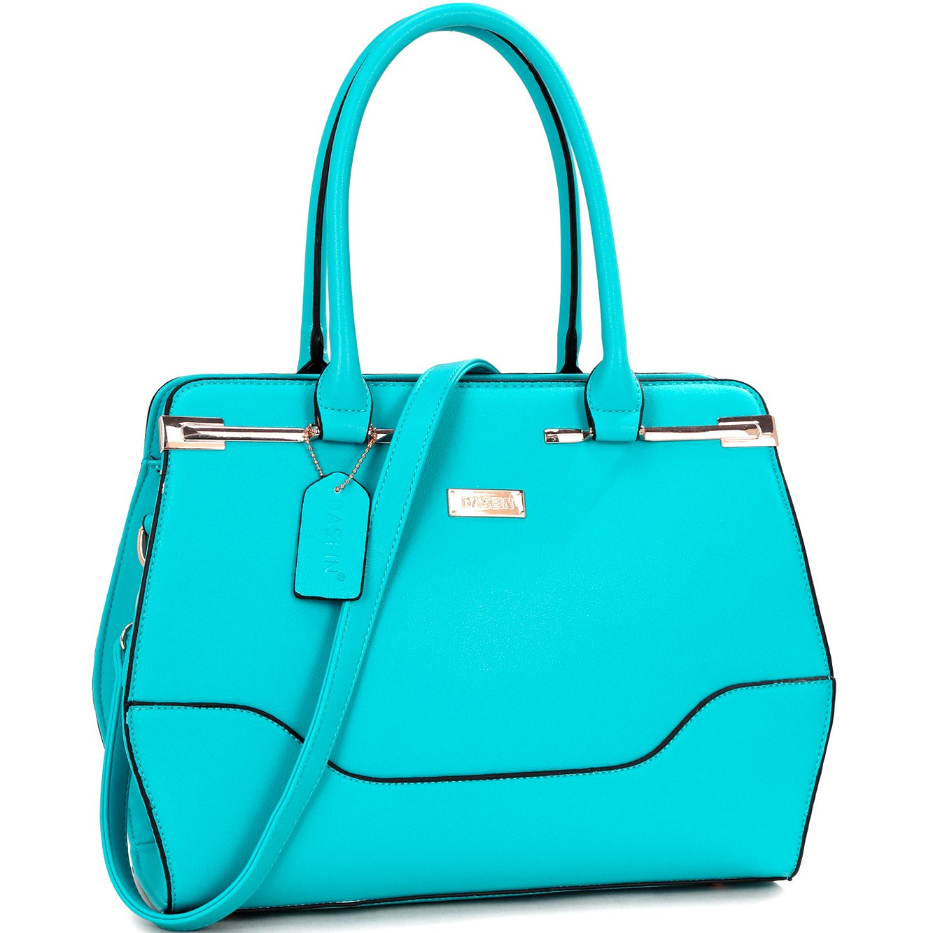 Top Handle Handbag Zip Purse Fashion Shoulder Bag Structured Crossbody Satchel Vegan Leather Blue by Dasein (Image #1)