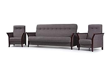 mb moebel polstergarnitur sofa mit schlaffunktion und bettkasten 3er schlafsofa und zwei sessel wohnlandschaft 3