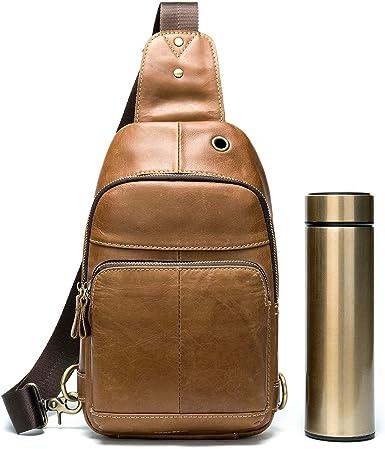 Men Leather Sling Purse Chest Bag Shoulder Backpack Crossbody Sport Travel Pack