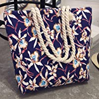 Printing Shopping Handbag, Ladies Girl Simple Ethnic All-match Large Capacity Shopping Handbag Shoulder Tote Shopper Canvas Bag(Blue Flowers)