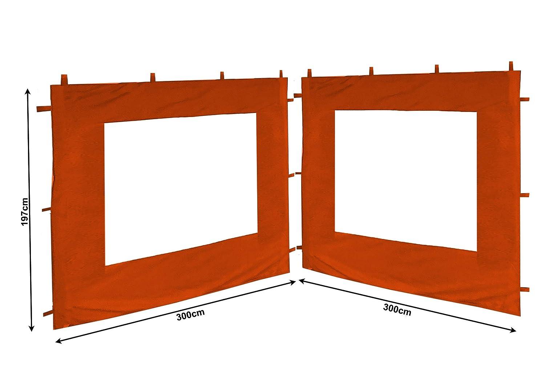 2 pareti Laterali con finestre in PVC per Gazebo Rank 3 x 3 m Quick-Star 300 x 195 cm Parete Laterale Terra