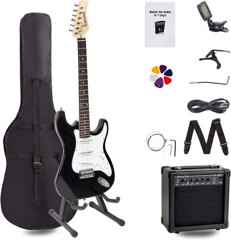 Display4top Kit de guitarra eléctrica Amplificador de 20 vatios, soporte de guitarra, bolsa, púa de guitarra, correa, cuerdas de repuesto, sintonizador, estuche y cable (Negro-Negro)