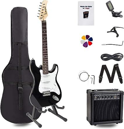 Display4top Kit de guitarra eléctrica Amplificador de 20 vatios, soporte de guitarra, bolsa, púa de guitarra, correa, cuerdas de repuesto, sintonizador, estuche y cable (Negro-Negro): Amazon.es: Instrumentos musicales