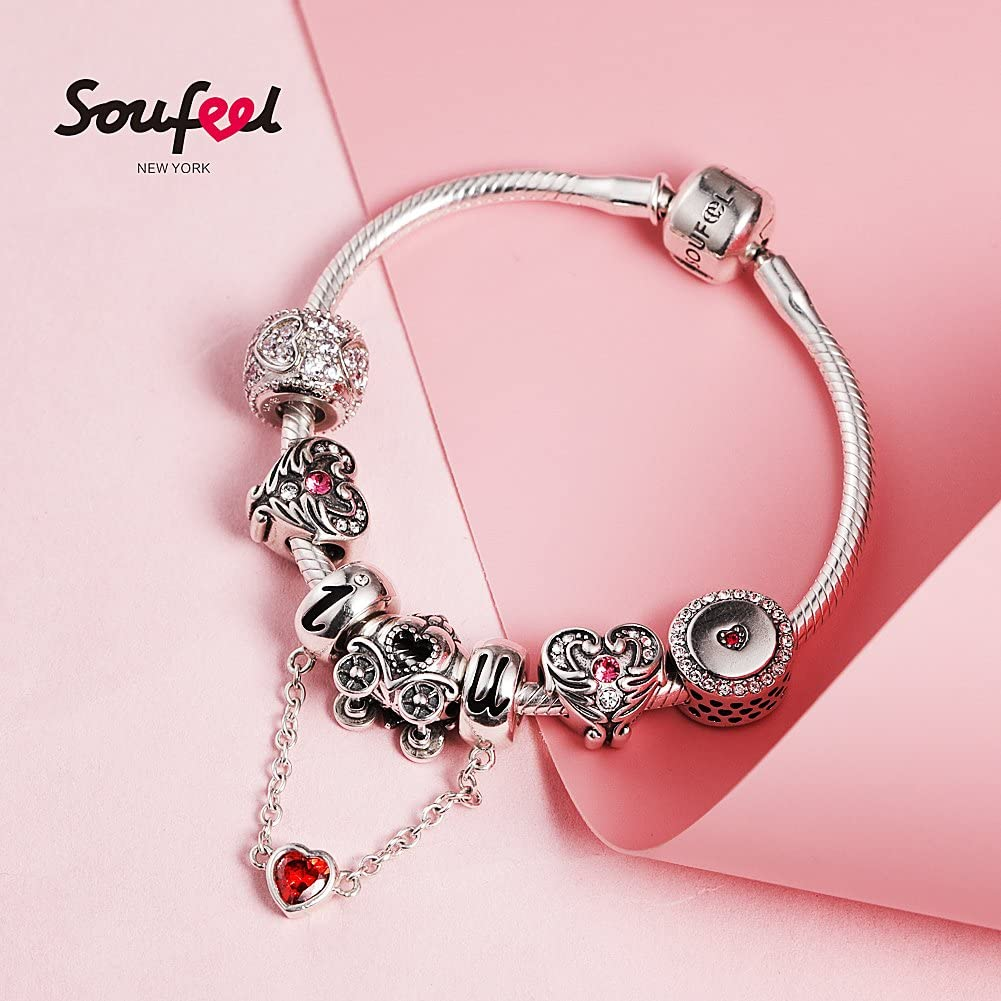Soufeel Cha/îne de S/écurit/é Bracelet Brillants Fermoir en Argent Sterling 925 Compatible Europ/éen Charms Colliers Bracelets /à Breloques F/ête des M/ères