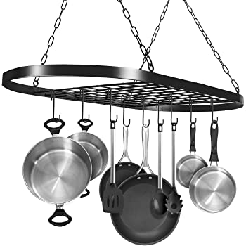 Amazon Com Sorbus Pot And Pan Rack For Ceiling With Hooks