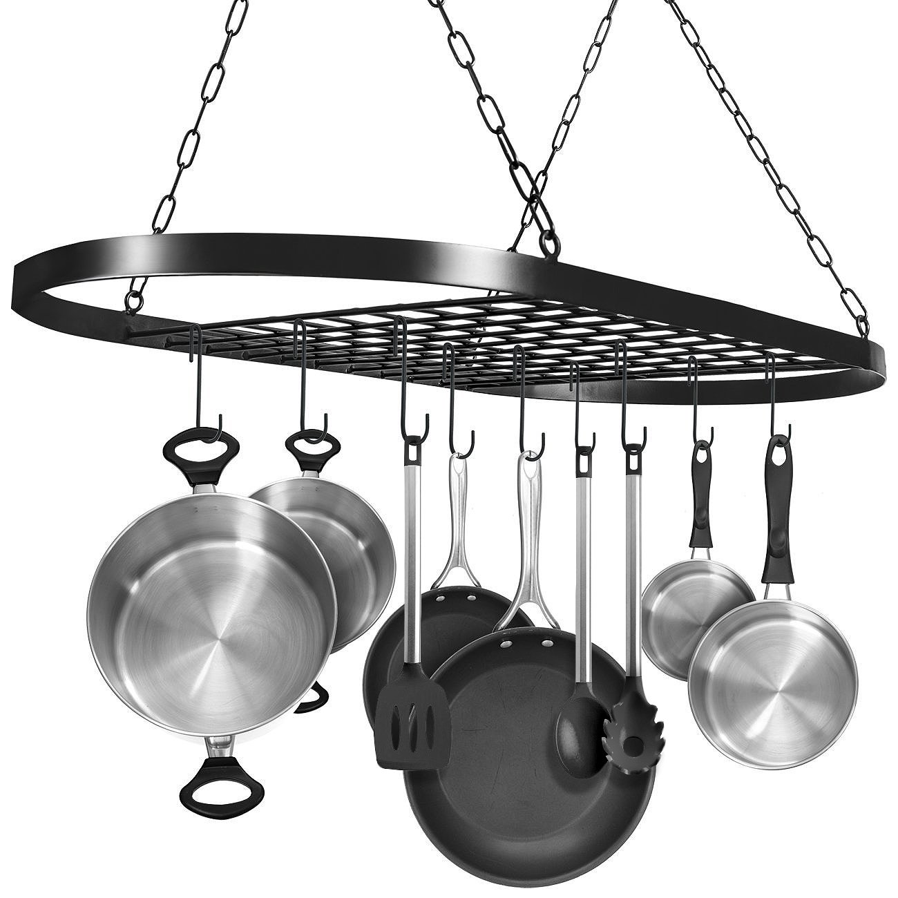 Sorbus Pot and Pan Rack for Ceiling with Hooks - Decorative Oval Mounted Storage Rack - Multi-Purpose Organizer for Home, Restaurant, Kitchen Cookware, Utensils, Books, Household (Hanging Black) by Sorbus
