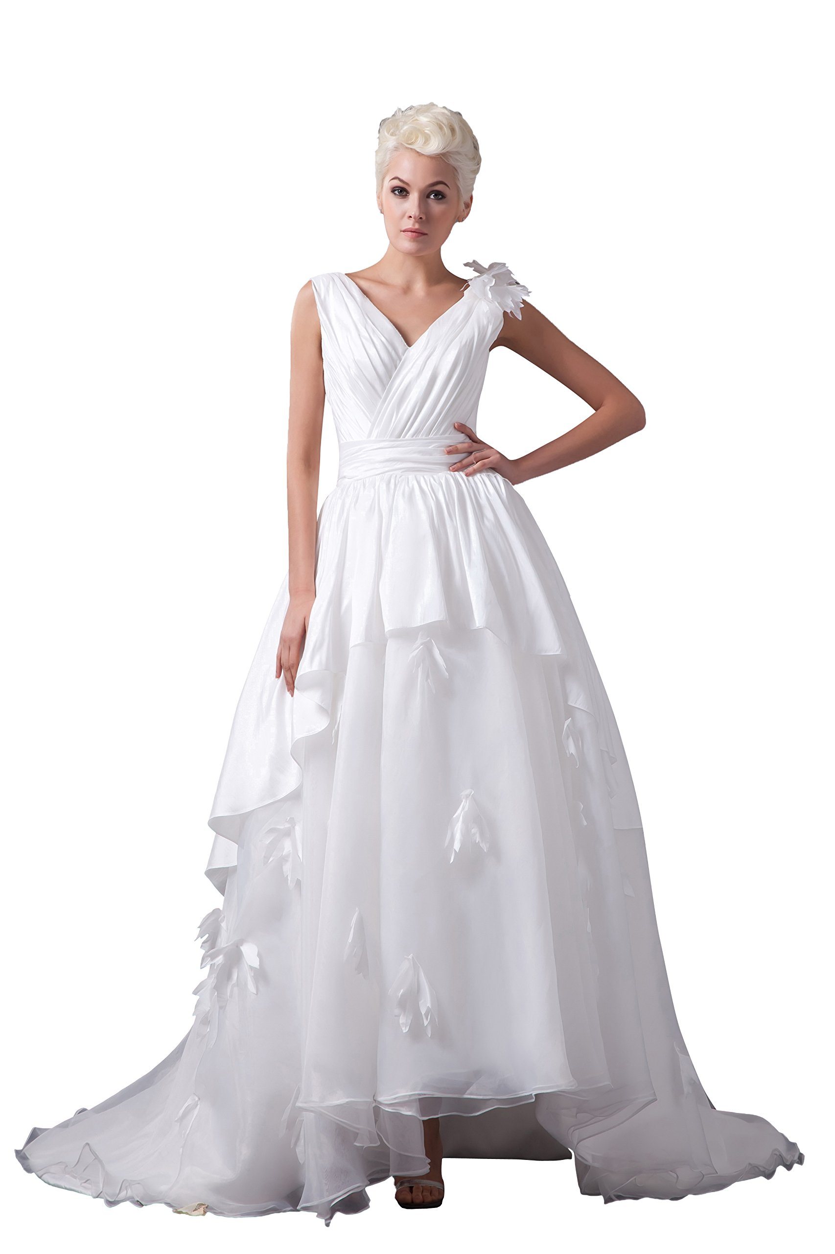 Vogue007 Womens V-neck Sleeveless Taffeta Pongee Satin Wedding Dress, ColorCards, 20W