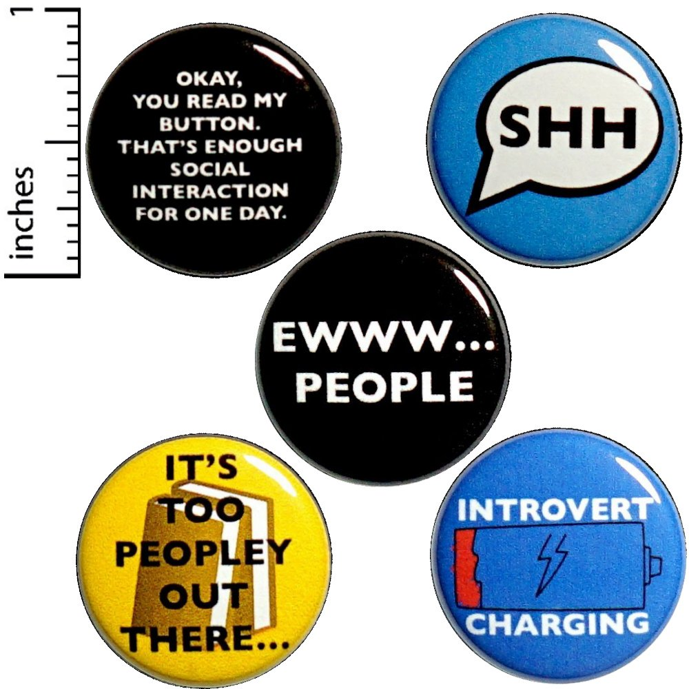 Funny Introvert Button 5 Pack Random Humor Sarcastic Backpack Jacket Pin Set 1