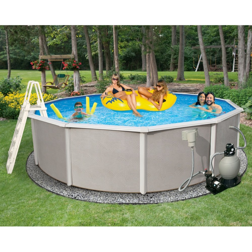 Amazon.com : Blue Wave Belize 18-Feet Round 48-Inch Deep 6-Inch Top Rail  Metal Wall Swimming Pool Package : Garden & Outdoor