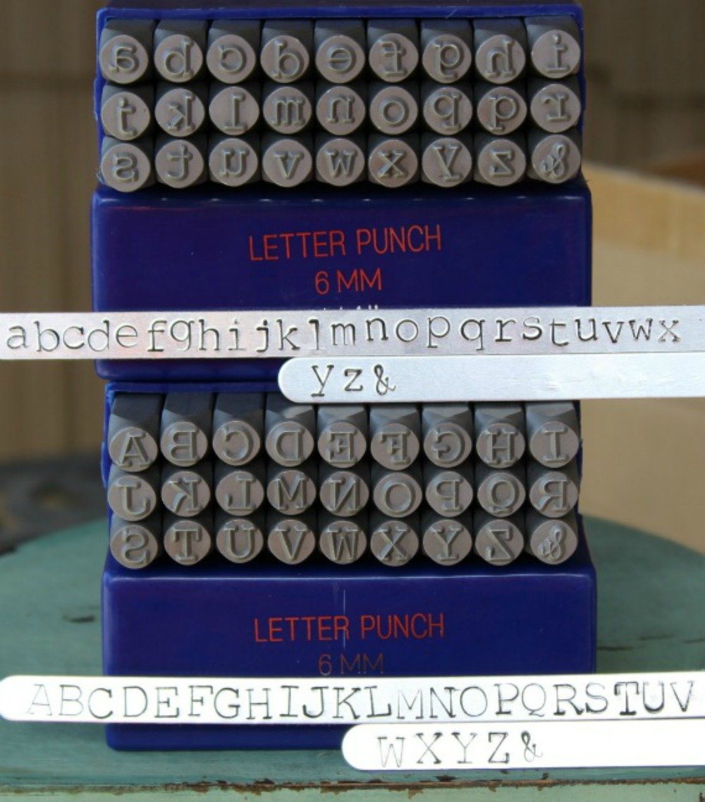 6mm Typewriter Font Metal Stamp Alphabet Letter Set, Available in Uppercase, Lowercase or Combination Set (Combination (MD-16UL))