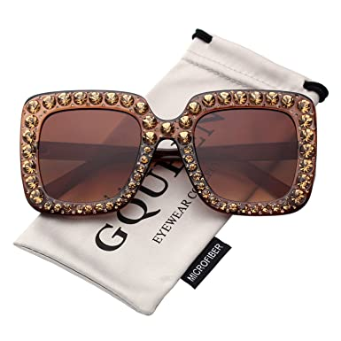 62c010ebab GQUEEN Women Oversized Square Frame Sunglasses Sparkling Crystal Brand  Designer Fashion Shades S063  Amazon.co.uk  Clothing