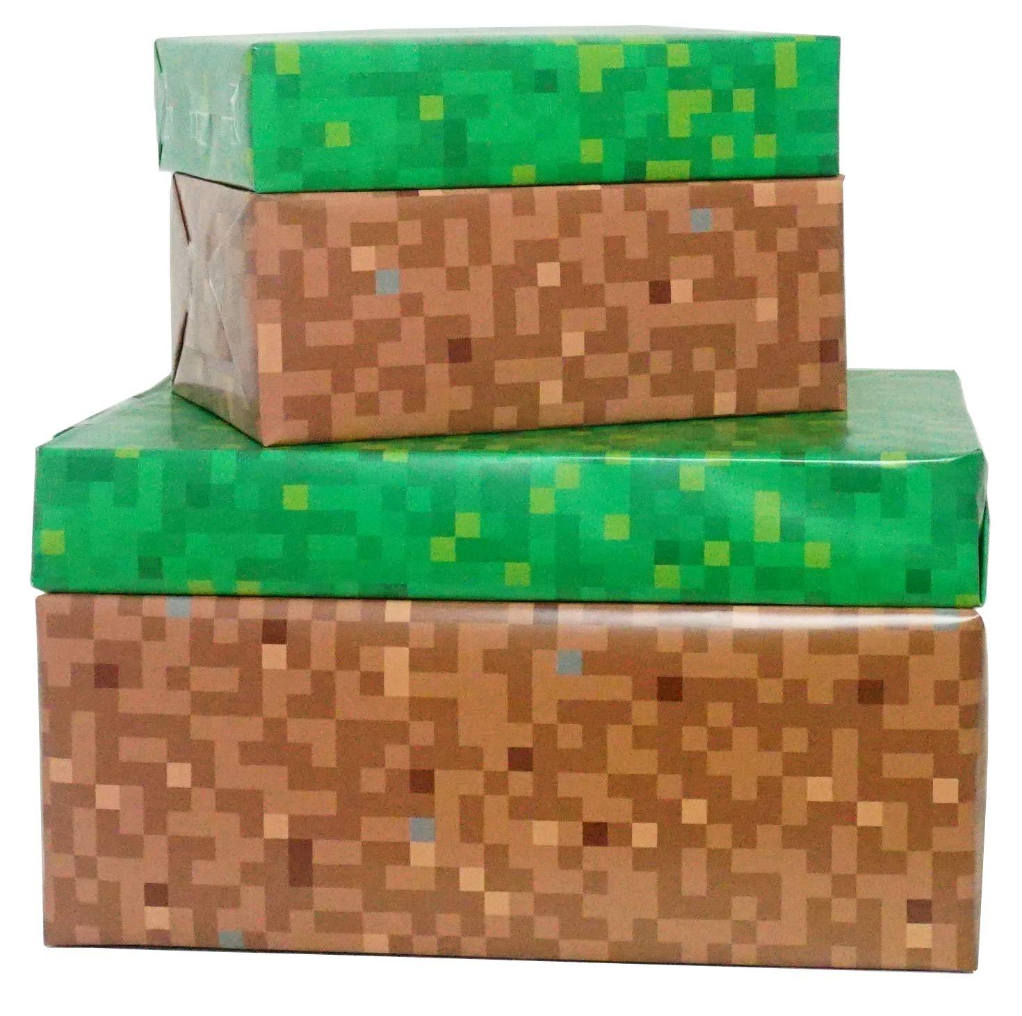 Pixel –  Carta da regalo Premium –  Doppio –  verde/marrone –  4 fogli Function Twelve