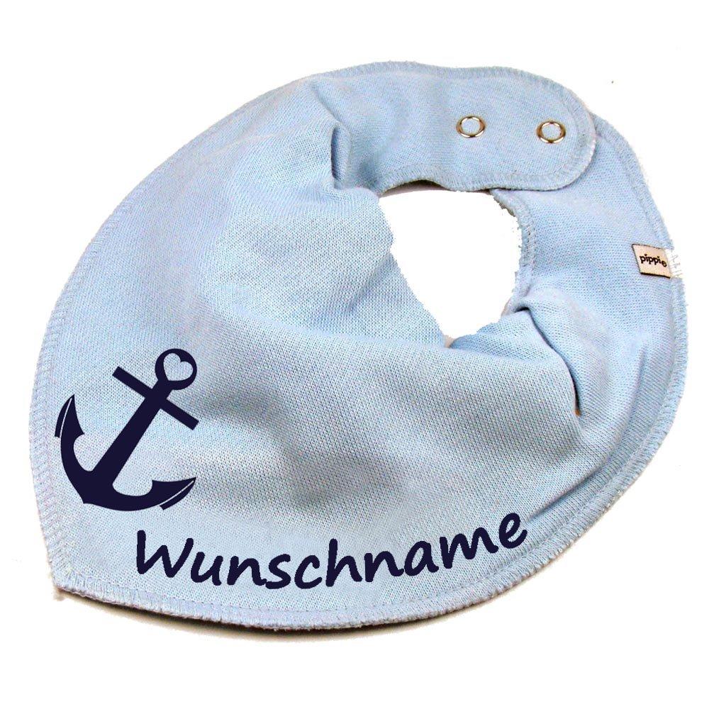 HALSTUCH ANKER mit Namen oder Text personalisiert dunkelblau f/ür Baby oder Kind