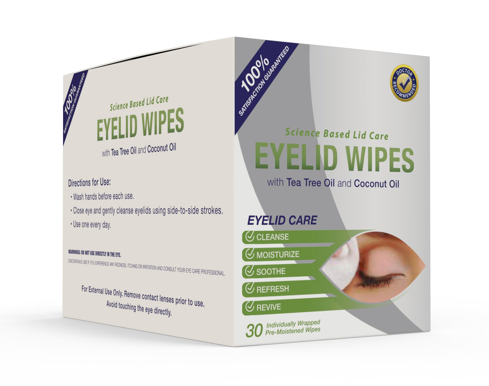 Eyelid Wipes with Tea Tree and Coconut Oil - Cleansing Eye Wipes for People Itchy Eyes - Box of 30 Natural Eye Wipes