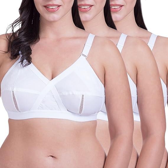 5c787dad6 Rajnie Cross Fit Plus Size Non Padded Cotton Bra Pack of 3  Amazon ...
