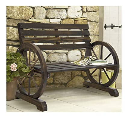 Amazon Com Patio Garden Wooden Wagon Wheel Bench Rustic Wood