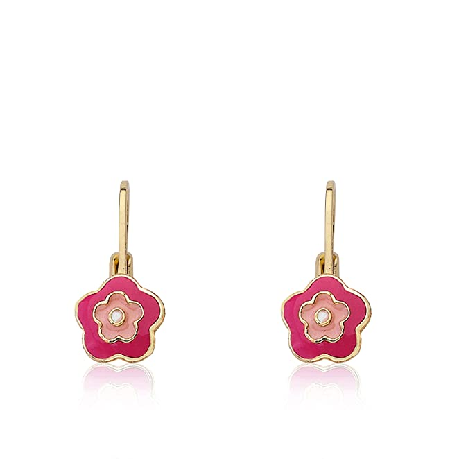 "Little Miss Twin Stars ""Frosted Flower"" 14k Gold-Plated Hot Pink and Pink Enamel Flower Leverback Earrings"