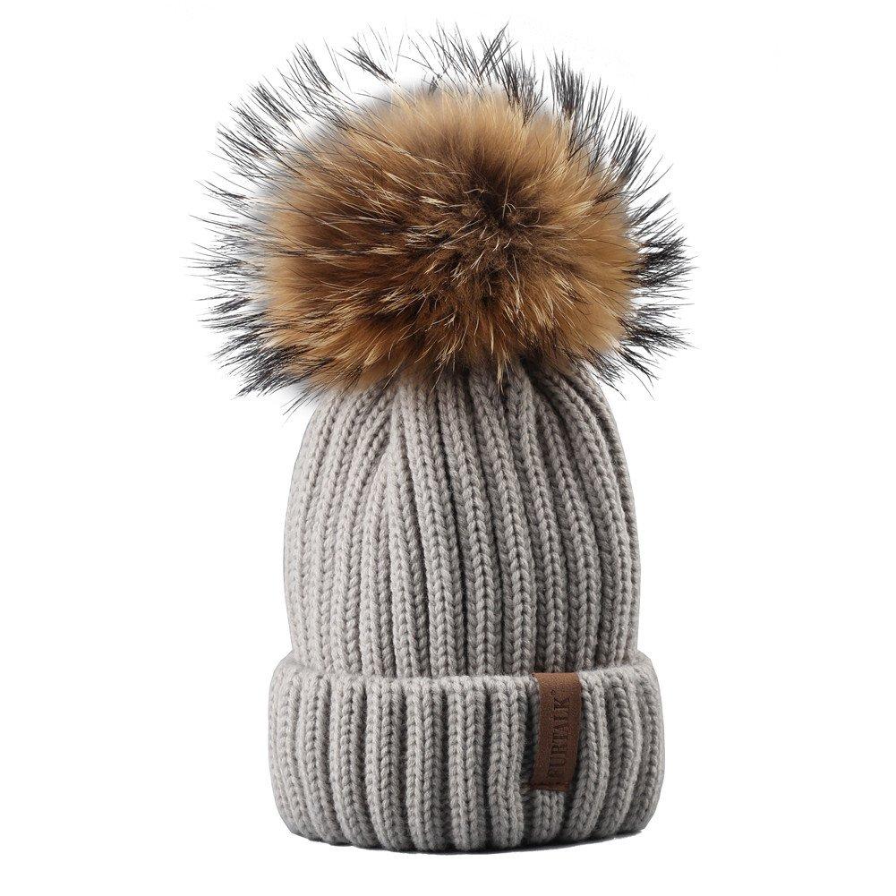 Bobble Hat Parent-Child Knit Hats for Women Girls Boys /… FURTALK Winter Beanie Pom Pom Hat
