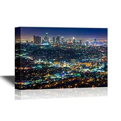 wall26 - USA City Skyline Canvas Wall Art - Downtown Los Angeles Skyline at  Night, from Griffith Observatory, California - Gallery Wrap Modern Home