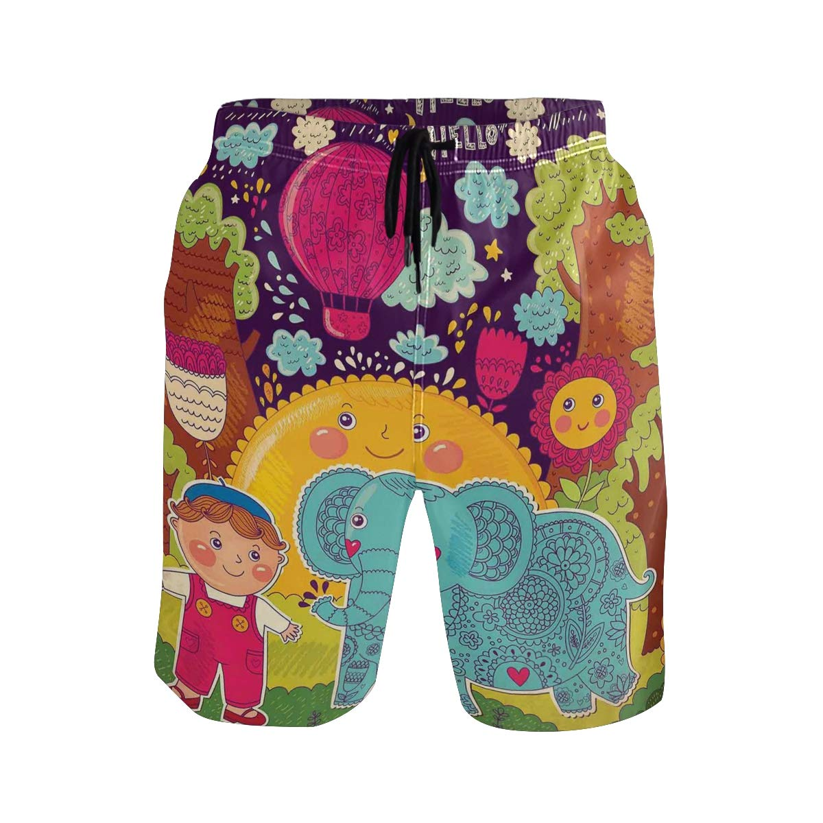 COVASA Mens Summer ShortsCartoon Boy in The Forest with Smiling Sun and Flower