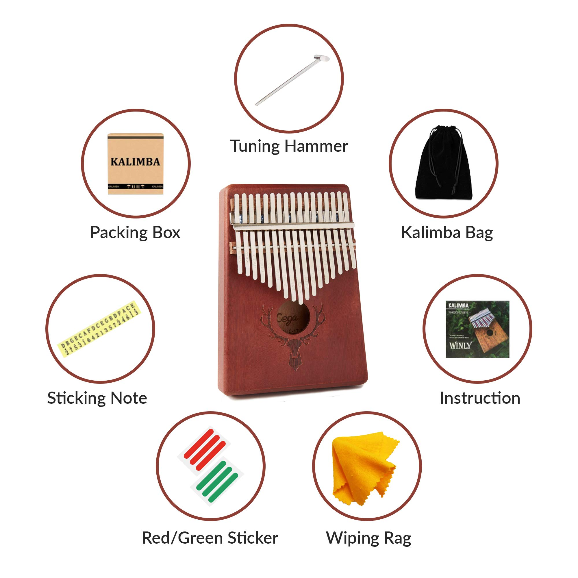 TimberTunes 17 Key Kalimba Thumb Finger Piano Therapy Musical Instrument for Adults Children, Solid Mahogany Wood, Engraved Elk Antler,Tuning Hammer and Music Book, Engraved Keys, Velvet Case, Unique by Timbertunes (Image #5)