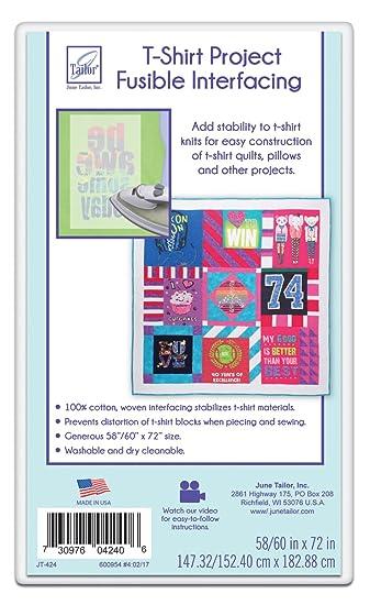 Amazon.com: June Tailor T-Shirt Project Fusible Interfacing, 60 by ... : t shirt quilt fusible interfacing - Adamdwight.com