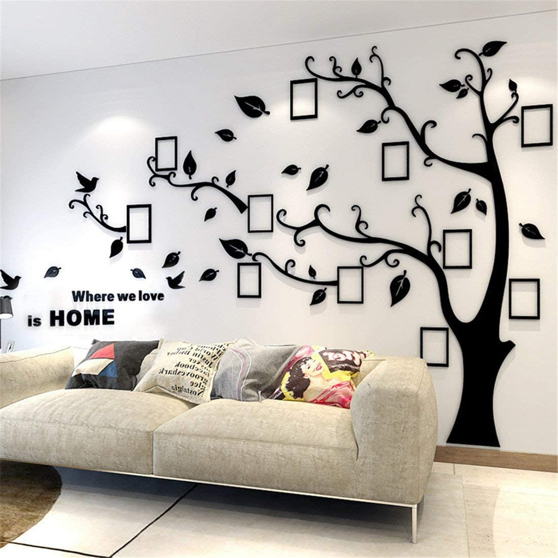 Unitendo 3D Acrylic Wall Stickers Photo Frames FamilyTree Wall Decal Easy to Install &Apply DIY Photo Gallery Frame Decor Sticker Home Art Decor (Black Leaves-Right, L)…