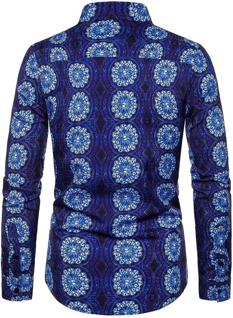 Mfasica Mens Casual Floral Printed Long-Sleeve Spring//Autumn Artist Stretchy Dress Shirt