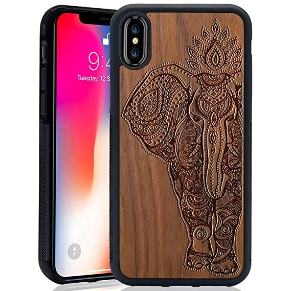 promo code 3d0c7 8dabd Wood Case for iPhone X, Wood Pattern [Laser Printing] Rugged [Dual Layer]  High Impact Durable Back Wooden Case Cover For Apple iPhone X (Elephant)