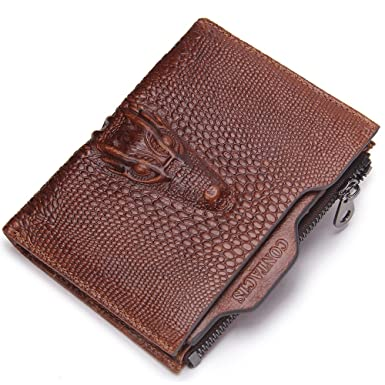 9d682ebceda3 Contacts Mens Genuine Leather Alligator ID Card Holder Zipper Coin Purse  Wallet Brown