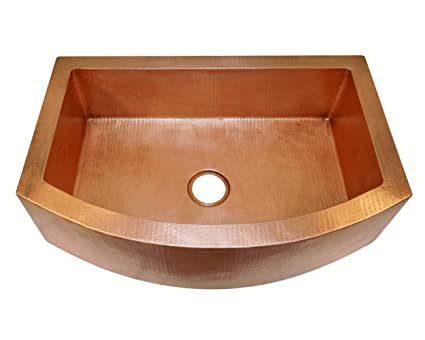 Soluna Copper Farmhouse Sink with Rounded Apron Front - 30\