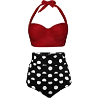 Angerella Femmes Retro Point de Polka avec La Taille Haute Maillot de Bain Bikini