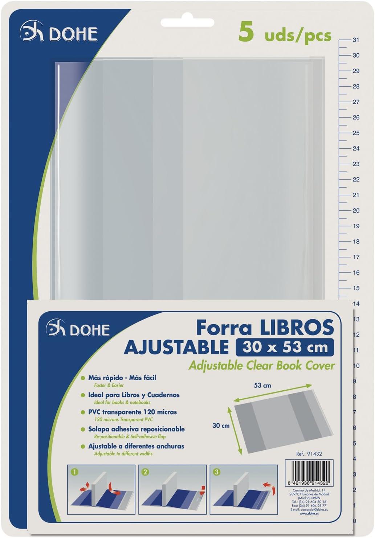 Dohe 91432 - Pack de 5 cubiertas protectoras de libros y cuadernos, 53 x 30 cm
