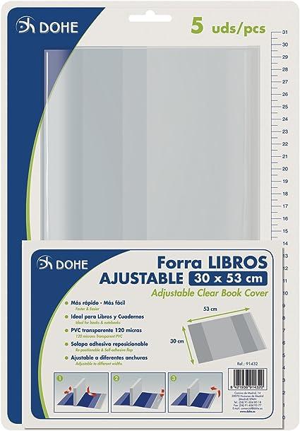 DOHE 91432 - Pack de 5 cubiertas protectoras de libros y cuadernos, 53 x 30 cm: Amazon.es: Oficina y papelería
