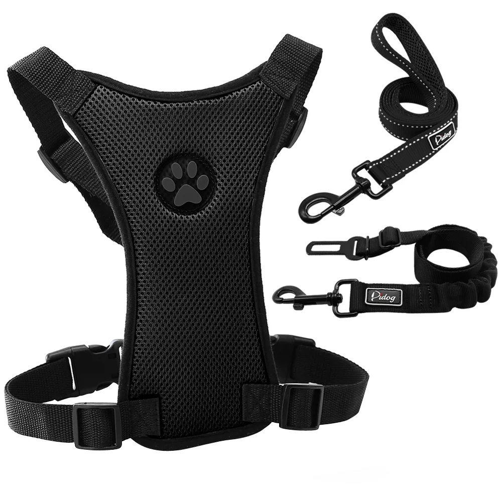 Didog Dog Car Harness,Daily Leash,Vehicle Seat Belt 3 Set for Easily Traveling Walking Dogs,Black