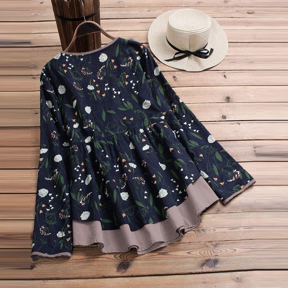 Subfamily Femmes Grande Taille T-Shirt a Carreaux 2 en 1 Manches Longues Haut /à Carreaux imprim/é Pull Pull-Over Tunique Classique Printemps
