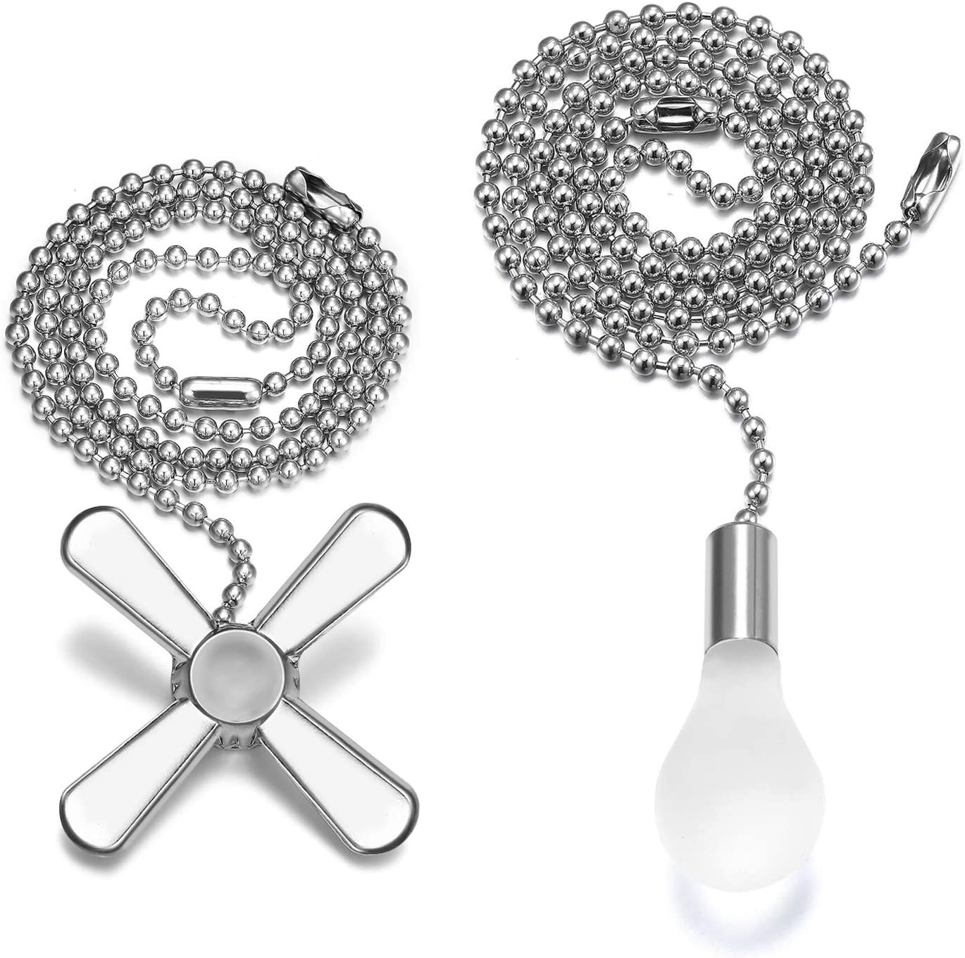 Ceiling Fan Pull Chain, 2pcs 24-inch 3mm Diameter Beaded Ball Extension Chains with Decorative Light Bulb and Fan Cord (Silver): Kitchen & Dining