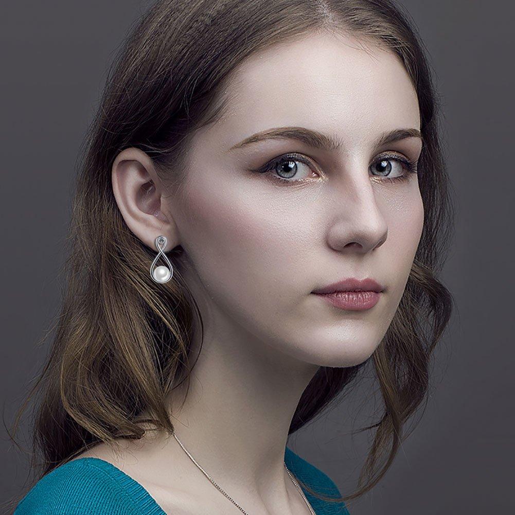 LINLIN FINE JEWELRY 925 Sterling SilverS925 Sterling Silver Stud Dangle Drop Cute Earrings for Women Girl (Infinity) by LINLIN FINE JEWELRY (Image #2)