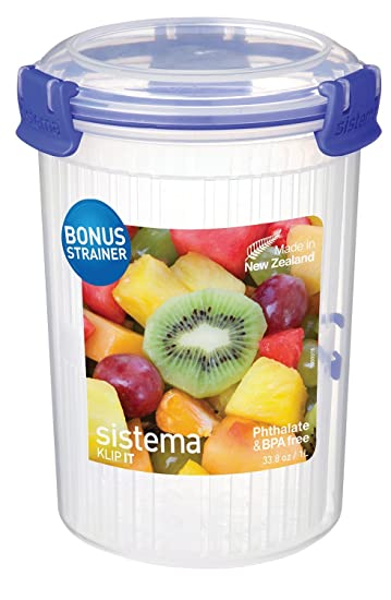 Sistema Klip It Collection Round Food Storage Container With Strainer, 33.8  Ounce/4.2 Cup
