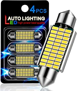 "AutoLite Led Festoon Bulbs 42mm 1.65"" 578 211-2 214-2 212-2, Super Bright Automotive Interior Car Light Bulbs, White 6000K with CANBUS Error Free, Best for Led Dome Light Map Trunk License Plate Light"