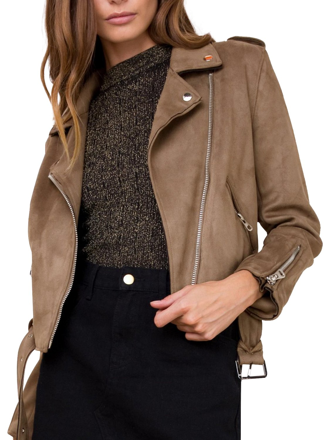 Simplee Women's Faux Suede Leather Motorcycle Jacket Belted Coat with Zipper, Brown, 10, Large